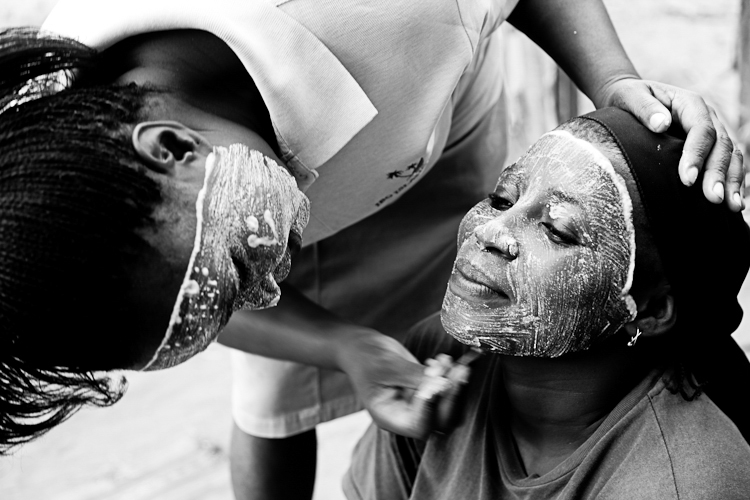 On Ibo Island in Mozambique women still apply the traditional muriso face paint, a symbol of beauty.