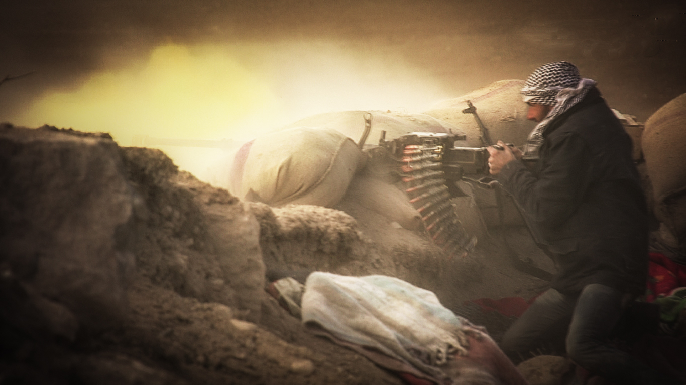 FSA unit Shams al Shamal assist the Kurdish units of the YPG against ISIS taking over Kobane (Ain al Arab). © Jacob Simkin.