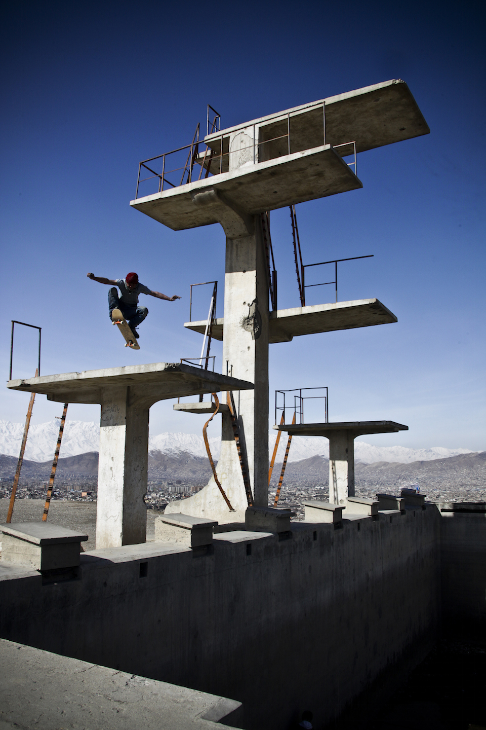 Mirwais, one of Skateistan's first Afghan skateboarders performs the Afghan version of Chris Cole's