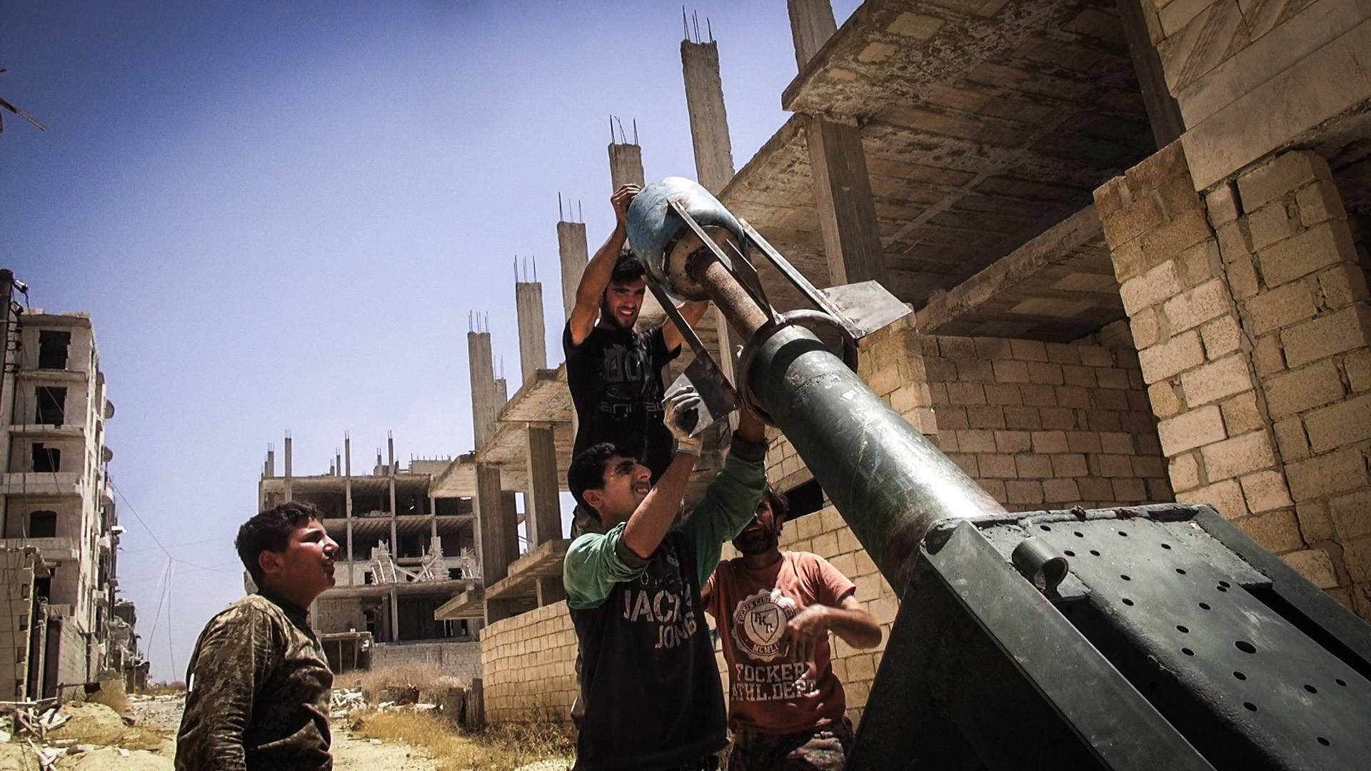 The FSA group Nour De Zenky use a home made missile system called the Janahem missile, welding together metal to a gas canister. They fought this day against the Assad regime in the Science Facility, taking over the location in several days.  © Jacob Simkin