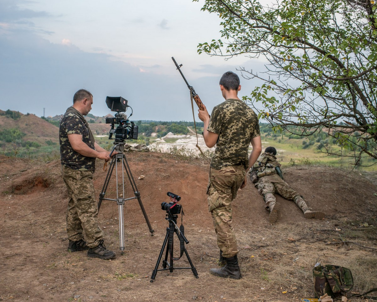 Members of Pravy Sektor, a right-wing volunteer military that operates independently of the Ukrainian government, make a promotional propaganda film. Timothy Eastman