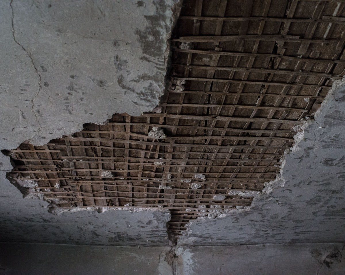 Roof in a home damaged by shelling in the village of Gnutove. Timothy Eastman