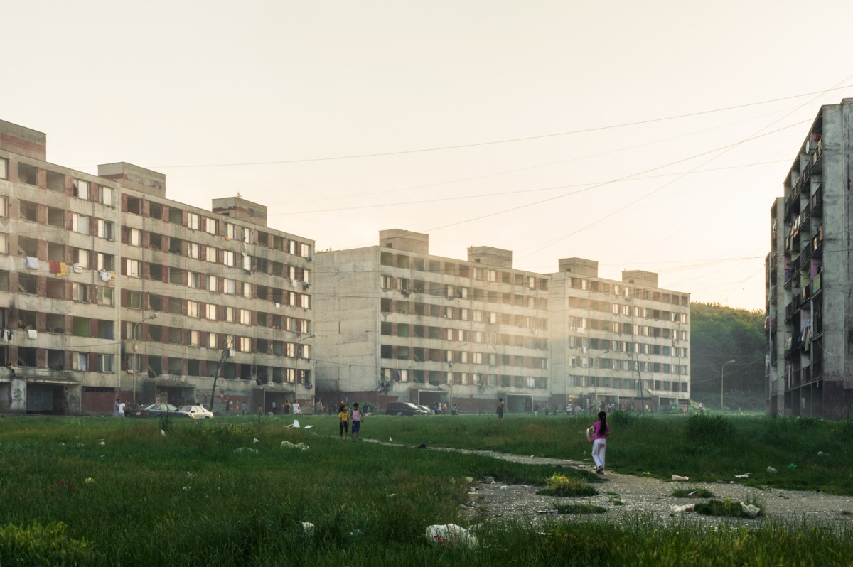 20.06.2013. Residential blocks in evening light in part of the district LUNIK 9 in Kosice, Slovakia. Most of the people who are living there are Roma.